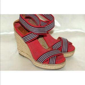 Tory Burch elastic straps espadrille wedge sandal